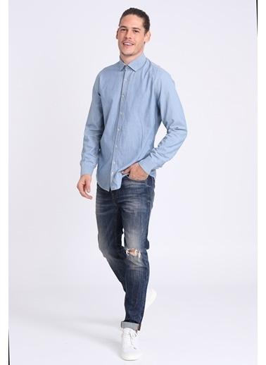 Lufian Slim Fit Uzun Kollu Gömlek İndigo